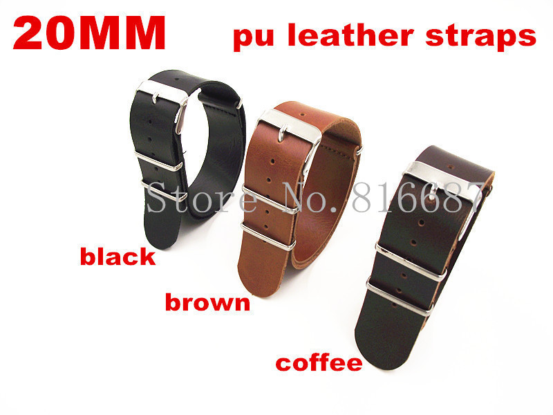 New arrival 10PCS/lot High quality 20MM PU leather nato straps Watch band watch strap black ,brown ,coffee color available(China (Mainland))