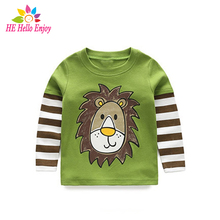 Buy HE Hello Enjoy Spring autumn long sleeve t-shirt girls stripe boys t-shirts children tops children sweatshirts baby clothes for $6.90 in AliExpress store