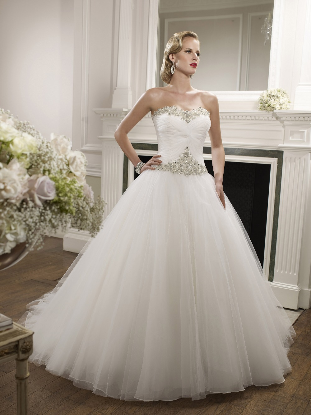 Strapless a line wedding dresses beaded tulle bridal gowns for Beaded wedding dress designers