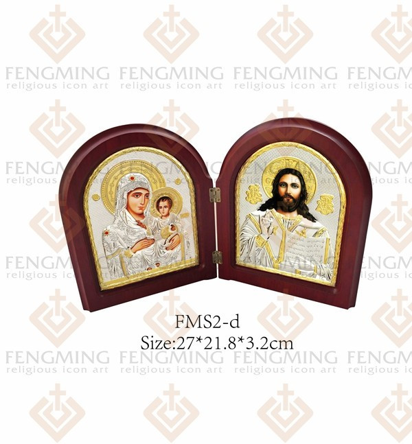 plating icon wood MDF Double metal silver icon jesus Christ images ...