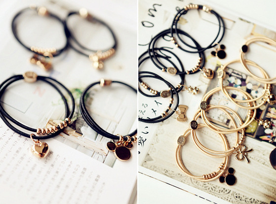 Free shipping Beaded Decoration Hair Ring Hair Tie Accessory Elastic Band ponytail holder(China (Mainland))