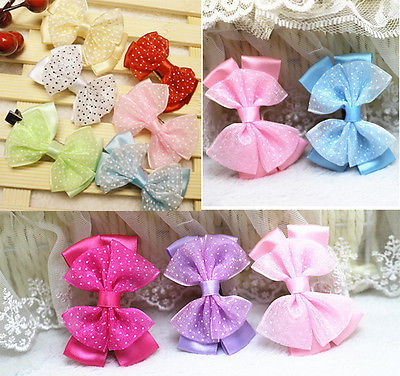 Cute Baby Girls Hair Clip Ribbon Chiffon Bow Kids Satin Bowknot Headband Salon(China (Mainland))