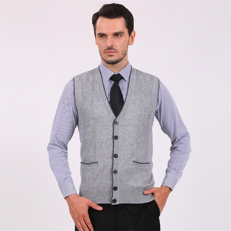 2015 NEW FASHION SOLID WOOL V NECK MEN CARDIGAN SWEATER VEST KNITWEAR SLEEVELESS CUSUAL HOT SALE FALL WINTER FREE SHIPPING,in Vests from Mens Clothing