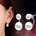 Fashion High Quality 925 Sterling Silver Double Sided Shell Pearl Stud Earrings Jewelry Long Earrings For