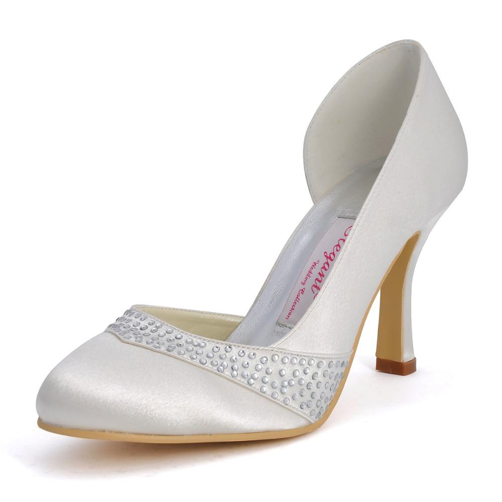 Фотография EP11020 Fashion Ivory Women Bridal Party Pumps Evening Prom Closed Round Toe Stiletto High Heels Satin Rhinestone Wedding Shoes
