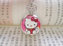 New Hello Kitty Cartoon Children Pocket Watch Fashion delicate Pendants Girl necklace Pocket Watch Quartz necklace