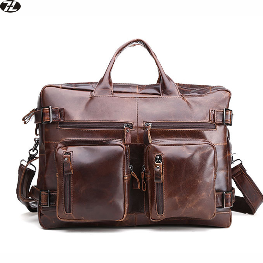 genuine leather man handbag brand  men leather briefcase vintage tote business men messenger shoulder crossbody Laptop bag