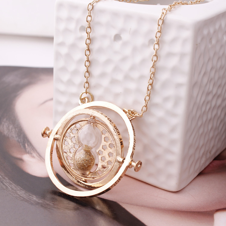 new arrival Harry Potter time turner necklace harry potter Hermione Granger Rotating Time Turner Necklace Gold Hourglass 261(China (Mainland))