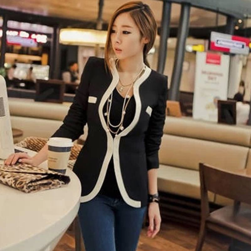 Fashion Autumn/Spring Casual Jacket Women Slim Wave V-Neck Single Button Outerwear Suit Ladies Coat Tops Vestidos FY*E1445(China (Mainland))