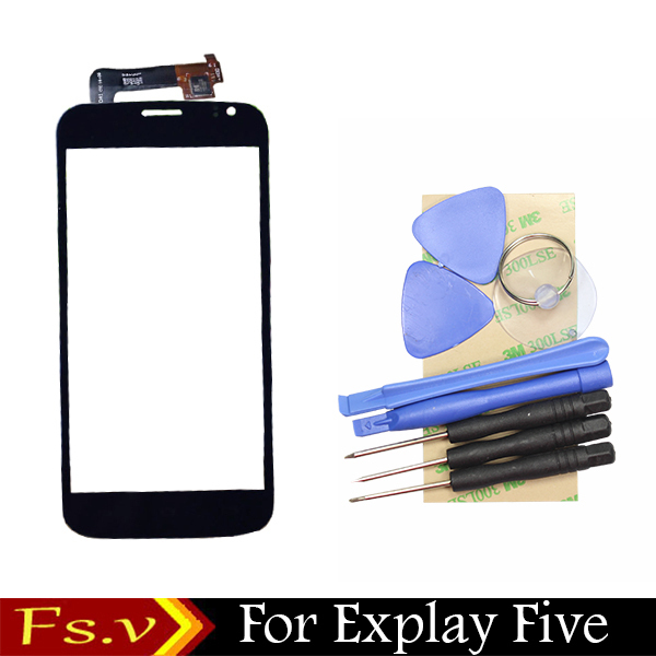 Original Front Lens Glass Capacitive Touch Screen For Explay Five sensor touchpad assembly + free tools + 3M Sticker(China (Mainland))