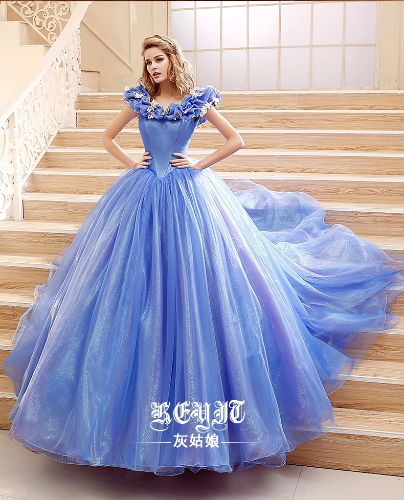 2015 movie cinderella dress cinderella wedding dress blue white dress new cinderella costume. Black Bedroom Furniture Sets. Home Design Ideas