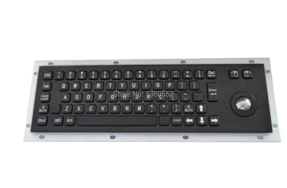 65 key black color back panel mounting stainless steel industrial metal keyboard, black kiosk metal keyboard, Custom keyboard(China (Mainland))
