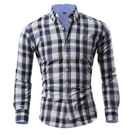Men Shirt Plaid Social Long Sleeve Dress Shirts Fashion Brand Slim Fit Hawaiian Cuadros Camisa Hombre