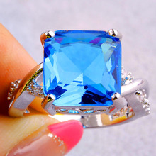 New Fashion Rings Saucy Blue Topaz 925 Silver Ring For Anniversary Size 6 7 8 9