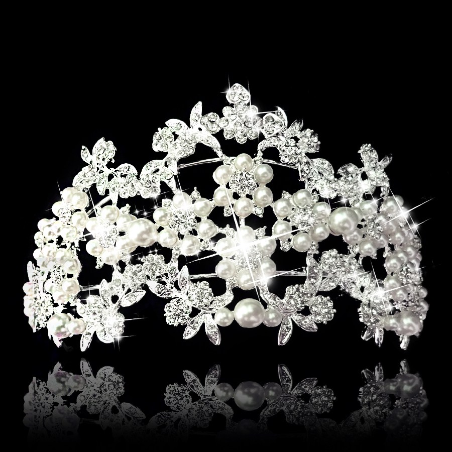 Luxury Tiara and Crown princess pearl crown head piece jewelry Wedding bride quinceanera tiaras and crowns free shipping CY-004(China (Mainland))
