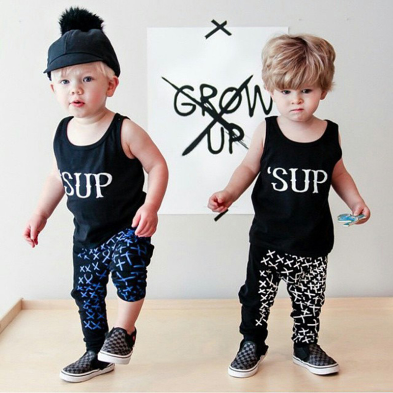High Quality Summer Newborn Baby Cloths Letter Printed O Neck Sleeveless Top Harem Pant Kids font