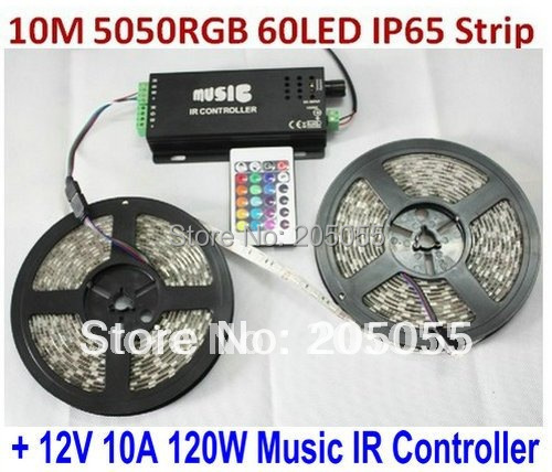 10M 5050SMD RGB Flexible LED Strip Lights 60Led/M 2 x 5M Waterproof IP65 + 120W Music IR Controller Sound activated controller(China (Mainland))