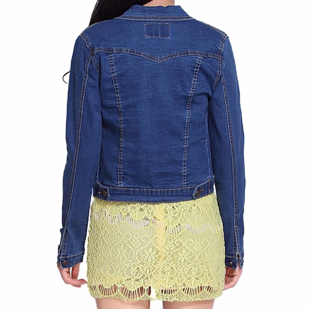 Оптовая продажа стильный воротник рубашки отбеливателя мыть для похудения джинсовые куртки для женщин