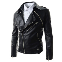(Jacket + Vest) Brand Black Pu Leather Jacket Men 2015 New Fashion Design Mens Slim Fit Motocycle Biker Jacket Jaqueta De Couro(China (Mainland))
