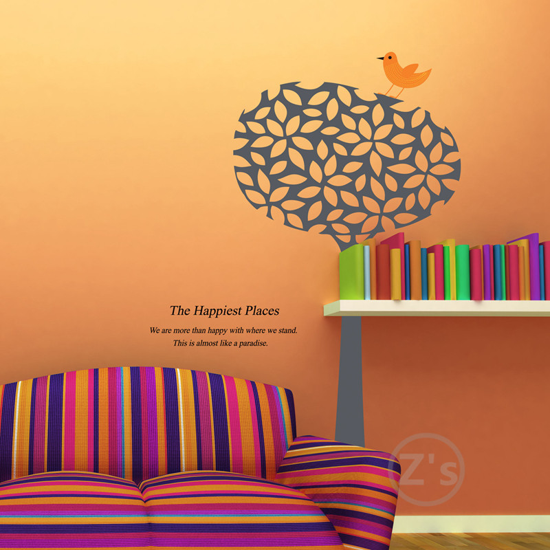 Bird on the tree wall sticker home decor adhesive art for Cheap wall mural posters
