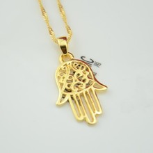 Cute girls jewelry 22K yellow gold plated Fatima Hamsa hand pendant necklace for women girls bless jewelry