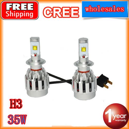 2pcs/lots h3 led headlight kit for car fog light 35W DC12V 24V cree led bulb free shipping(China (Mainland))