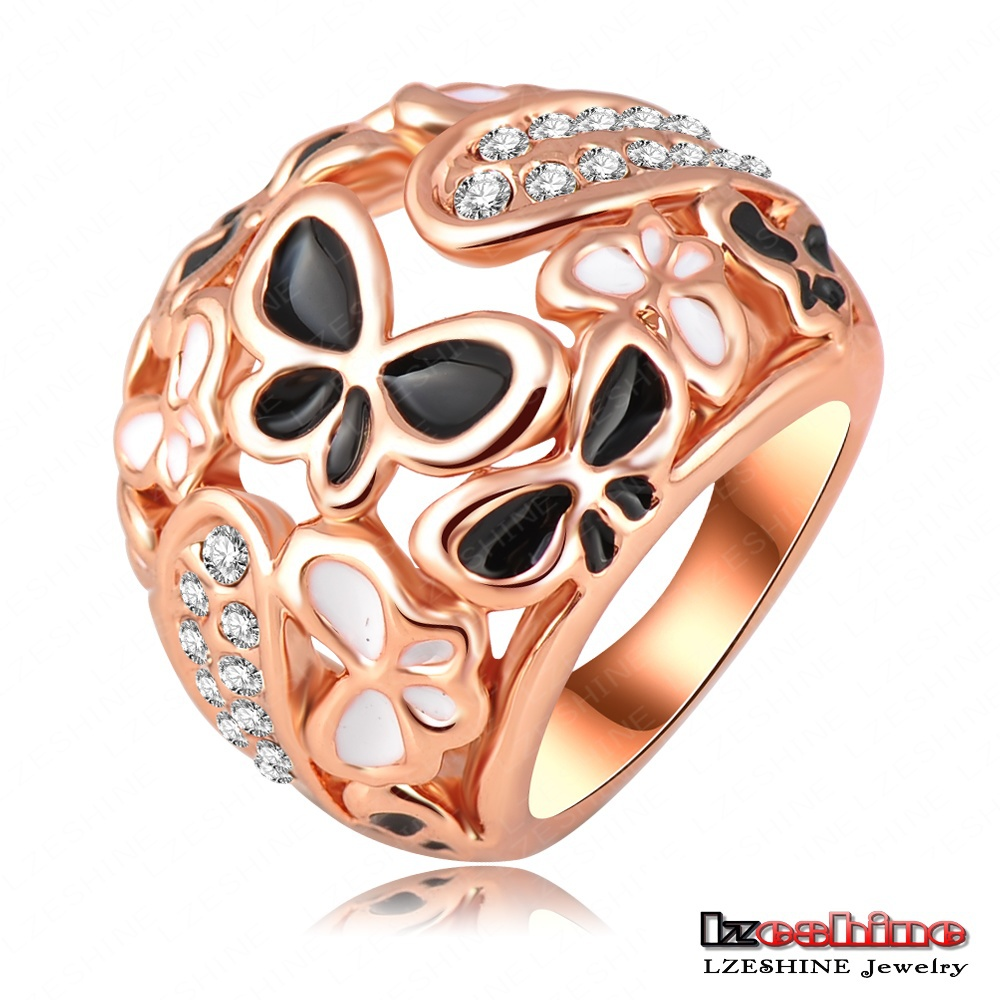LZESHINE Brand Big Ring 18K Rose Gold Plate Beauty Enamel Butterfly Rings Micro Pave Austrian Crystals