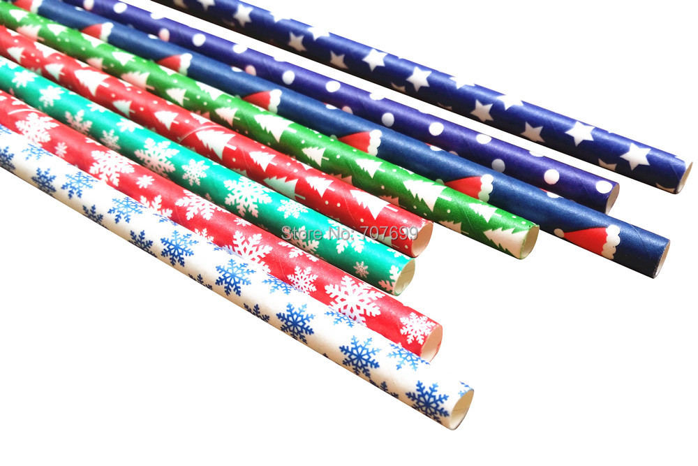 Free DHL Shipping $100 Above Paper Straws, Snowflake Paper Straws, Drinking Paper Straws Christmas Paper Straws 2400 pcs Mix(China (Mainland))