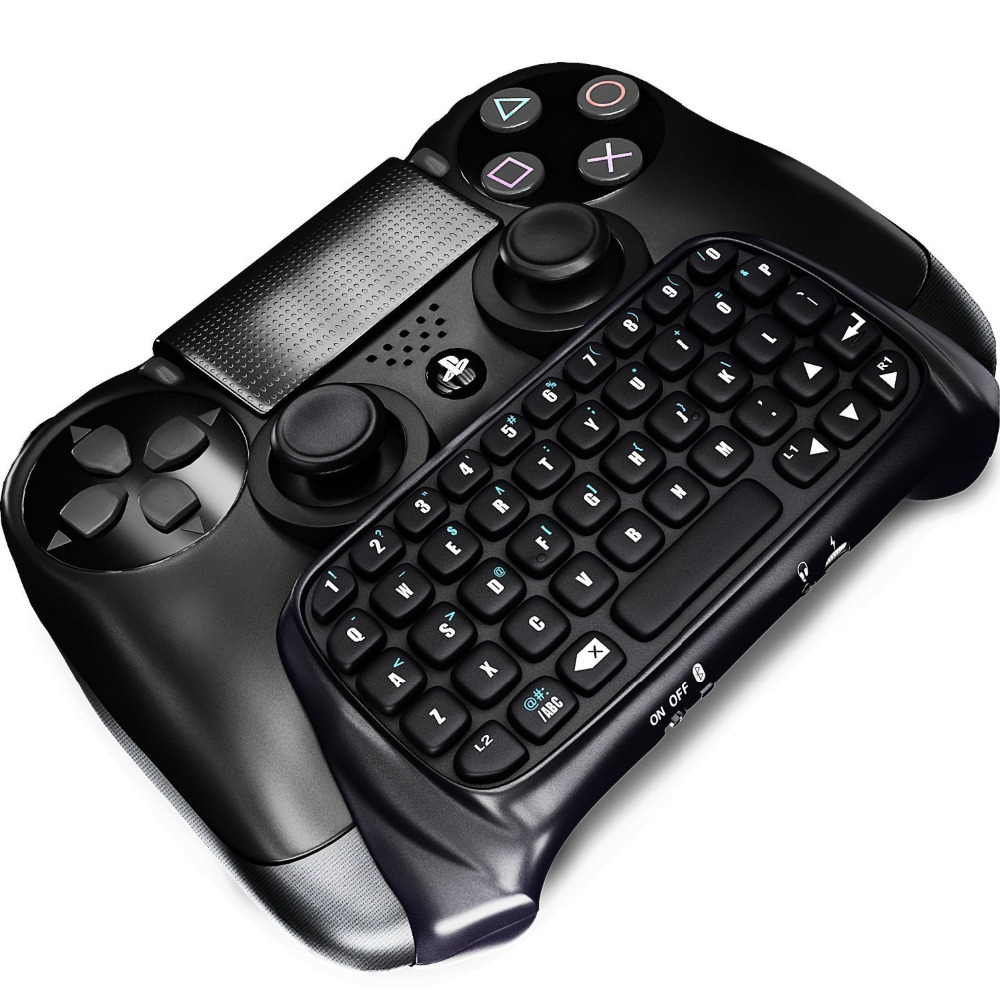 SQDeal Mutilfunction Black Mini Bluetooth Wireless Keyboard Joystick Chatpad for Sony Playstation 4 PS4 Gamepad Controller(China (Mainland))