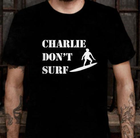 Charlie Dont Surf Logo Apocalypse Now Cult Movie T-shirt 100% cotton round neck T-shirt Free shipping(China (Mainland))