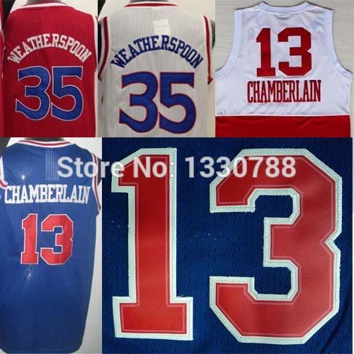 100% quality assured!!! #13 Wilton Chamberlain Throwback Jersey Basketball, #35 Clarence Weatherspoon Philadelphia Jersey USA, M(China (Mainland))