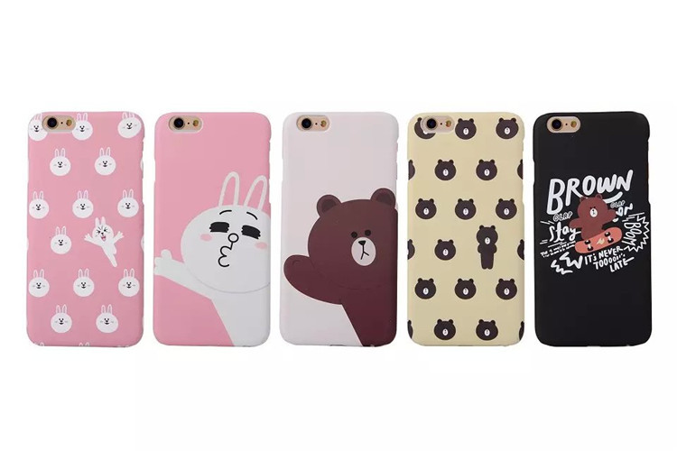 2015 Cute Cartoon brown line bear There are expressions of rabbit pc+plastic phone cover Case for iphone 6 6plus Free shipping(China (Mainland))