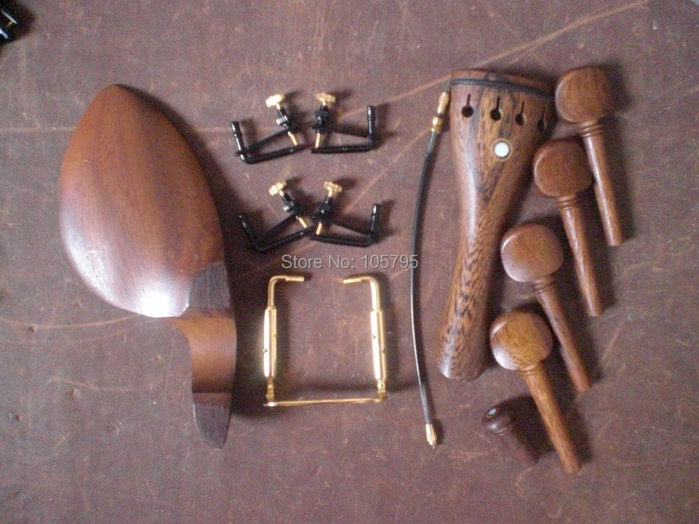 4 Sets Wenge wood Violin parts including String adjuster and tail gut and chin rest clamp 4/4<br><br>Aliexpress