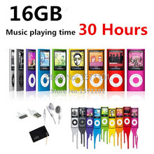 High quality battery mp4 player 16gb 9 Colors for choose Music playing time 30 hours FM radio video player + Gift bag(China (Mainland))