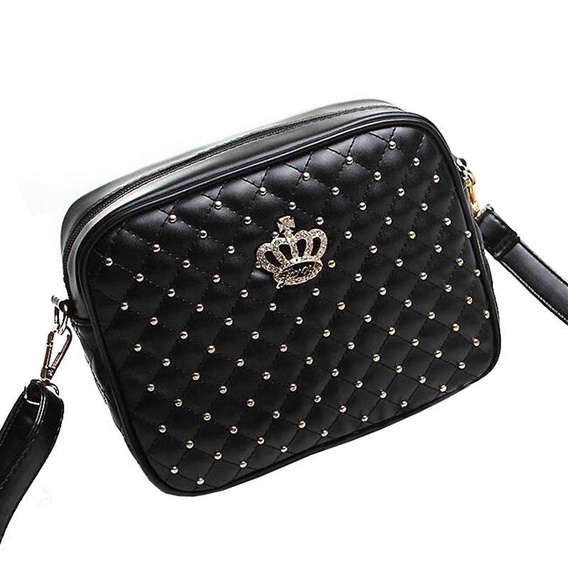 2015 plaid rivet small bag one shoulder cross-body women's handbag bag fashion brand bag women's handbag crown bag   A60-153
