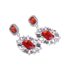 2015 Fashion Women 4 Colors Rhinestone Crystal Nice Flower Ear Jewelry Elegant Dangle Earrings #74764(China (Mainland))