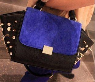 2015 A/W Fashion Punk Style Rhinestone Rivet Color Block Decoration Cowhide Messenger Bag Promotion! QQ1611