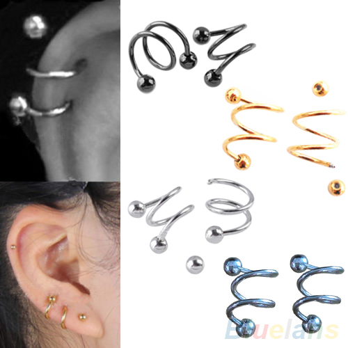 Punk Stainless Steel S Spiral Helix Ear Stud Lip Nose Ring Cartilage Piercing 2MRW(China (Mainland))