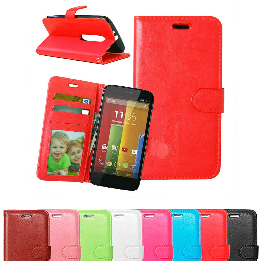 Luxury Wallet Pu Leather Flip Cover Case For Motorola Moto G3 Mobile Phone Case With Card Holder Stand Cover For Moto G3 3nd Red(China (Mainland))