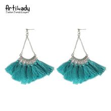 Artilady retro blue tassels earrings vintage women silver plating tassels stud earrings for women jewelry wedding earrings(China (Mainland))