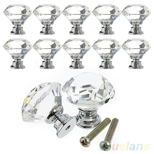 10Pcs 30mm Diamond Crystal Glass Alloy Door Drawer Cabinet Wardrobe Pull Handle Knobs 1PWU 2HXN(China (Mainland))