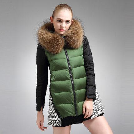 Women Winter Duck Down Coat Fur Collar Hooded Warm Thicken Parkas Jacket Plus Size Md-long Overcoat 2015 Hot Sale ZL3585
