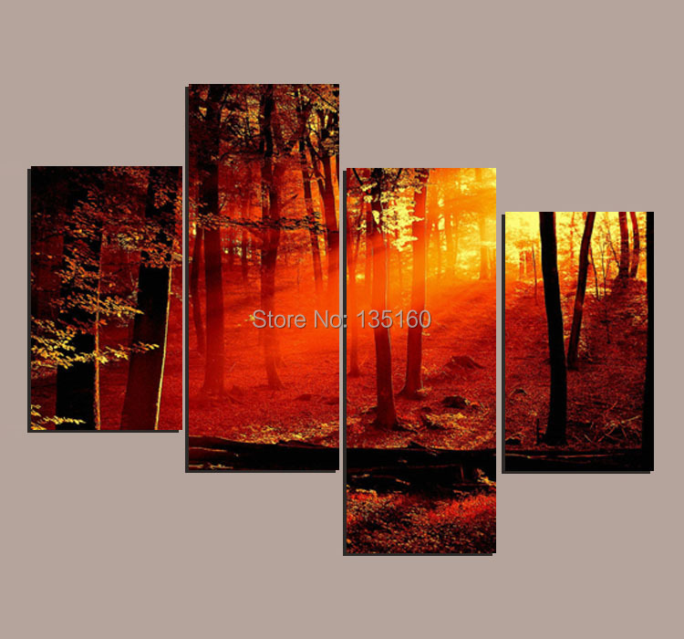4 Piece Giolla Wall Decor Set : Piece wall art tree painting realistic forest sunset