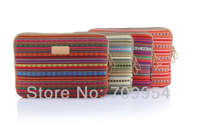 """Canvas 10"""" 12"""" 13"""" 14"""" 15"""" Colorful Stripe Shape Laptop Sleeve Case Netbook Cover Pouch For Lenovo Acer Dell, Free Shipping(China (Mainland))"""