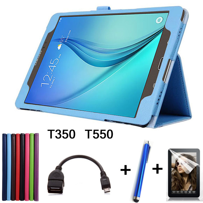 Stylus + Screen Protector + OTG + Luxury Case For Samsung Galaxy TabA SM-T350 T550 Case Lichee Style PU Leather Stand Cover<br><br>Aliexpress