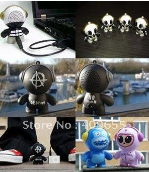 Sound blasting monster speaker super cute mini cartoon Headphonies,Portable usb for mp3 laptop,free shipping