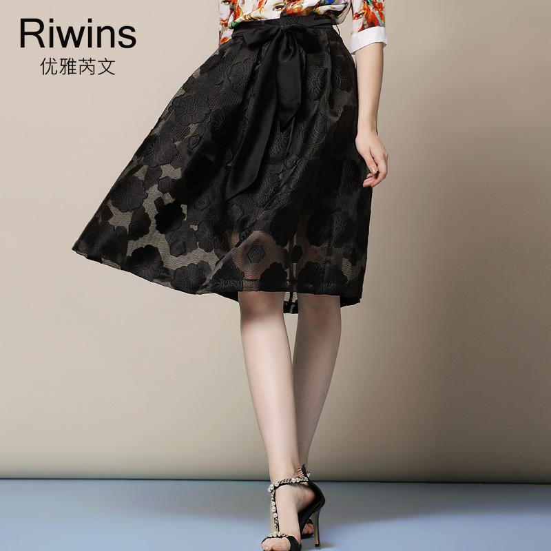 Элегантный 2015 лето органзы жаккардовые юбка до середины бедра элегантные старинные средней длины пуховкой юбка женский