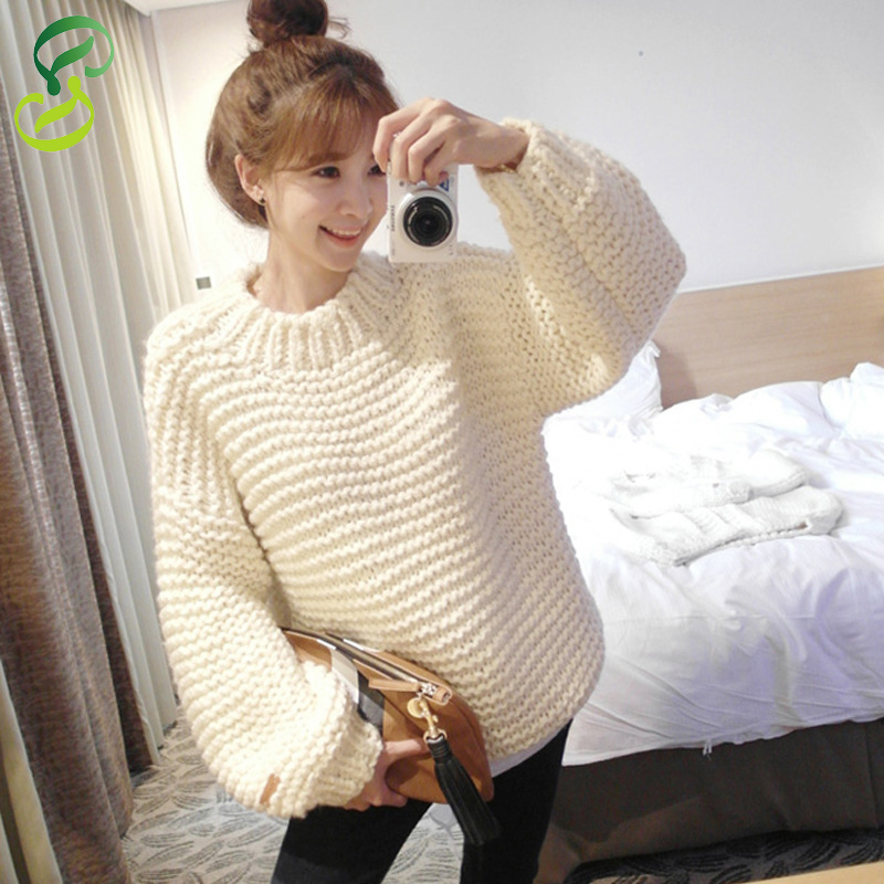 2015 New Fashion Loose Women pullover Casual O-Neck Long Sleeve Knitted Coarse Wool Women Sweaters and Pullovers,4 ColorsОдежда и ак�е��уары<br><br><br>Aliexpress
