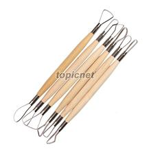 ASLT 6PCS Wood Handle Wax Pottery Clay Sculpture Carving Tool DIY Craft Set