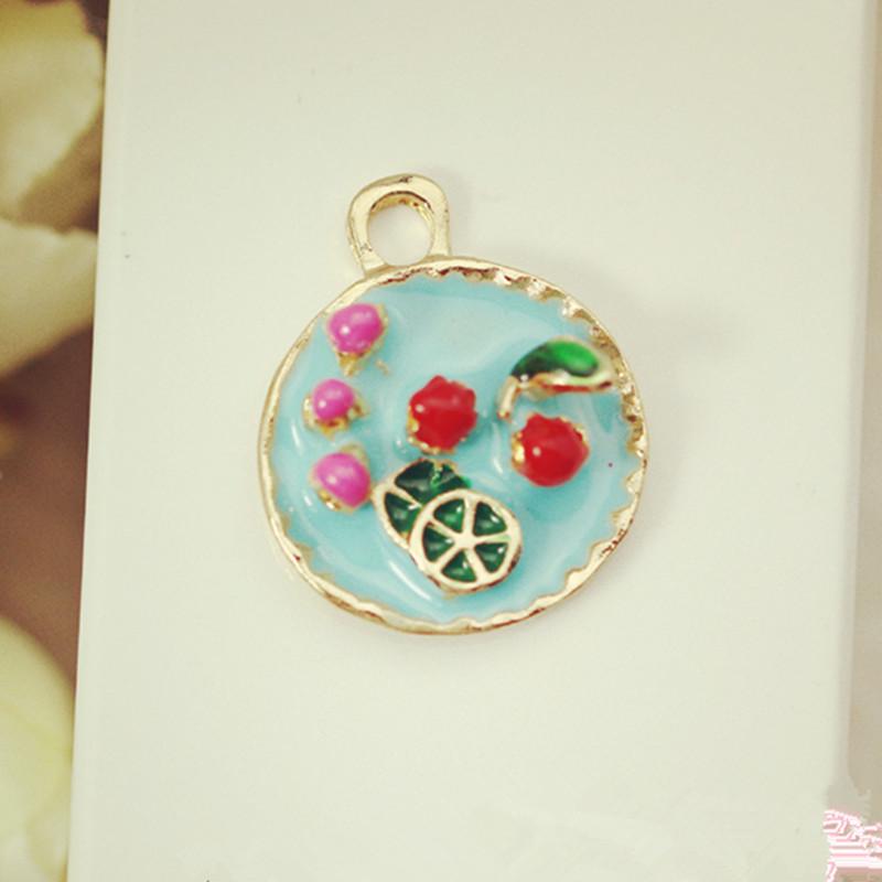 3D Fruit Platter Drop Oil Alloy Charms 30PCS Gold Tone Plated Metal Enamel DIY Jewelry Bracelet Necklace Garment Women Bag Charm(China (Mainland))